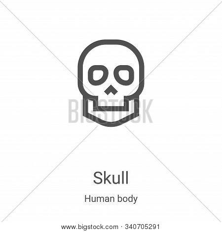 skull icon isolated on white background from human body collection. skull icon trendy and modern sku
