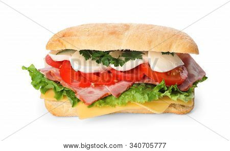 Delicious Sandwich With Fresh Vegetables And Mozzarella Isolated On White