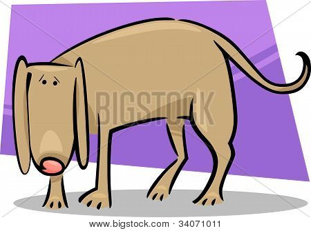 cartoon doodle illustration of cute sad dog poster