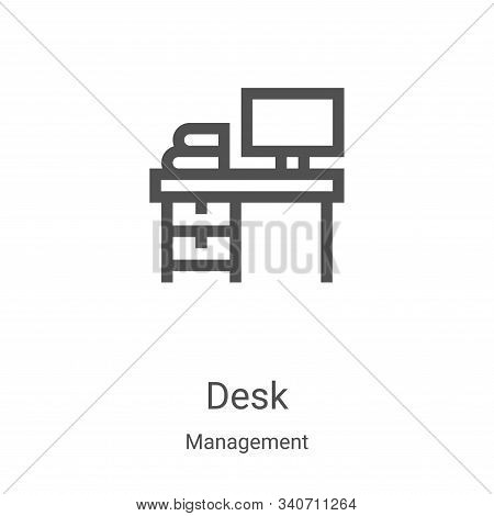 desk icon isolated on white background from management collection. desk icon trendy and modern desk