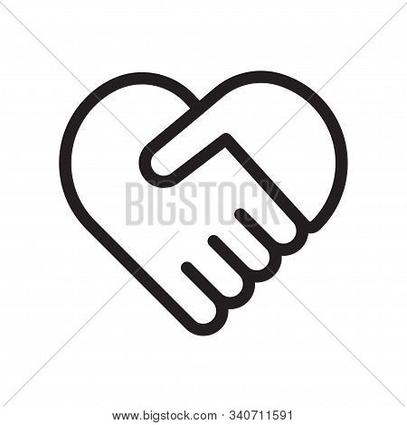 Handshake Heart Icon. Cooperation And Teamwork, Love And Relationship. Handshake Symbol Forming A He