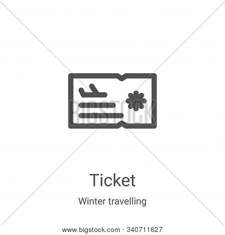 ticket icon isolated on white background from winter travelling collection. ticket icon trendy and m