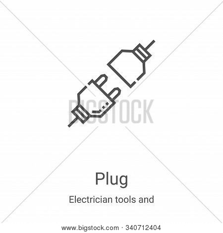 plug icon isolated on white background from electrician tools and elements collection. plug icon tre
