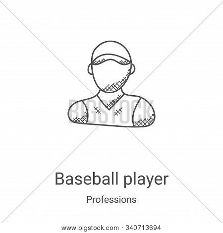 baseball player icon isolated on white background from professions collection. baseball player icon