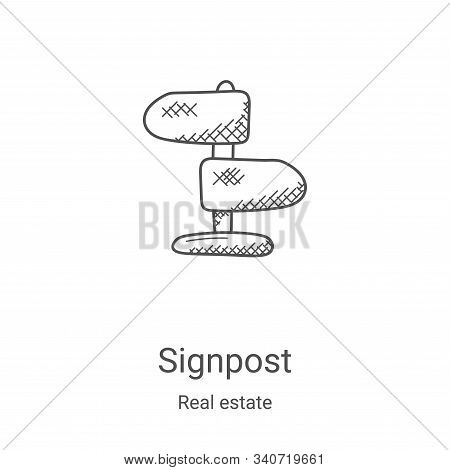 signpost icon isolated on white background from real estate collection. signpost icon trendy and mod