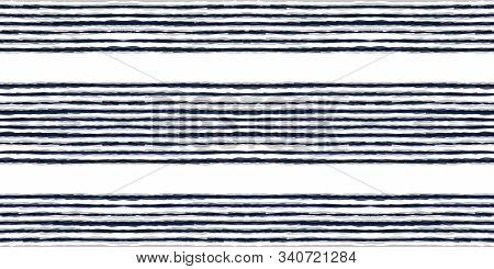 Cobalt Striped Vector Seamless Pattern. Cornflower Watercolor Line Japan Background. Gloss Chevron D