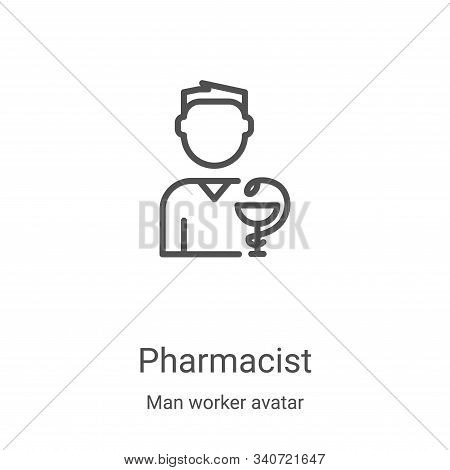 Pharmacist icon isolated on white background from man worker avatar collection. Pharmacist icon tren