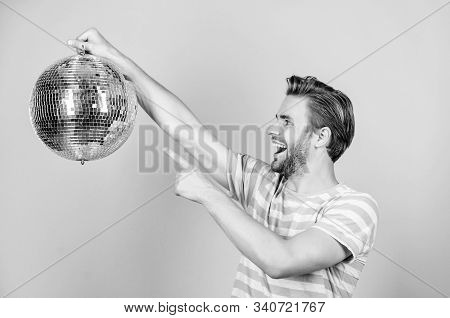 Party Fun. Man With Disco Ball. Happy Party-goer. Party Time. Birthday Celebration. Christmas Or New