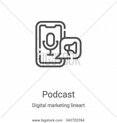podcast icon isolated on white background from digital marketing lineart collection. podcast icon tr