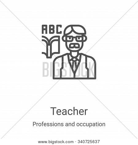 teacher icon isolated on white background from professions and occupation collection. teacher icon t