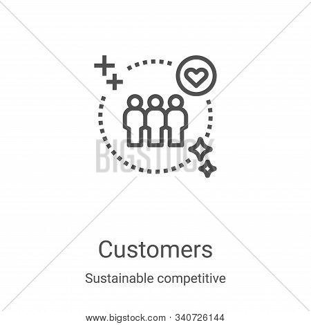 customers icon isolated on white background from sustainable competitive advantage collection. custo