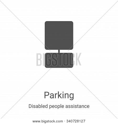 parking icon isolated on white background from disabled people assistance collection. parking icon t