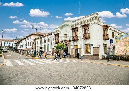 Cusco , Peru- Jan 9, 2019:  People at street of the historic city  Cusco ,  Peru.