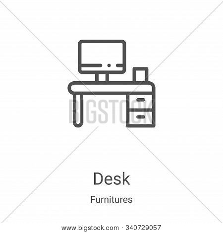 desk icon isolated on white background from furnitures collection. desk icon trendy and modern desk