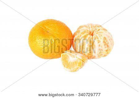 Mandarin And Peeled Mandarin Isolated On A White Background. Ripe Tangerines. Mandarin Orange. Tropi