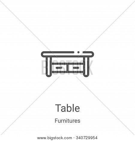 table icon isolated on white background from furnitures collection. table icon trendy and modern tab
