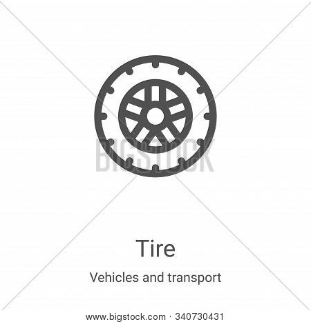 tire icon isolated on white background from vehicles and transport collection. tire icon trendy and