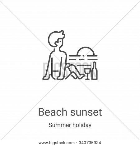 beach sunset icon isolated on white background from summer holiday collection. beach sunset icon tre