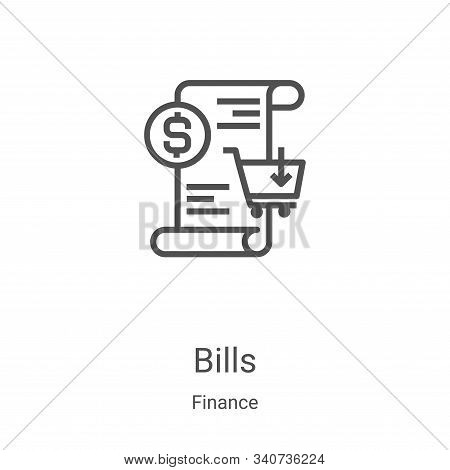 bills icon isolated on white background from finance collection. bills icon trendy and modern bills