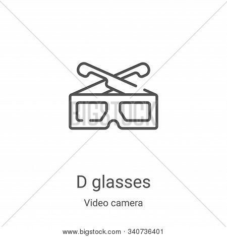 d glasses icon isolated on white background from video camera collection. d glasses icon trendy and
