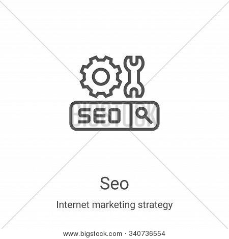 seo icon isolated on white background from internet marketing strategy collection. seo icon trendy a