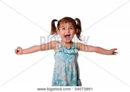 Extatische gelukkig peuter meisje