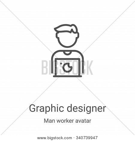 graphic designer icon isolated on white background from man worker avatar collection. graphic design