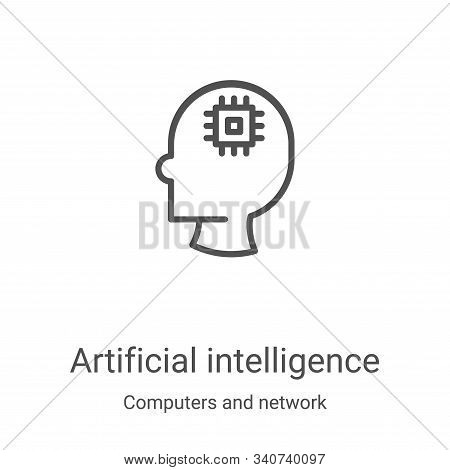 artificial intelligence icon isolated on white background from computers and network collection. art