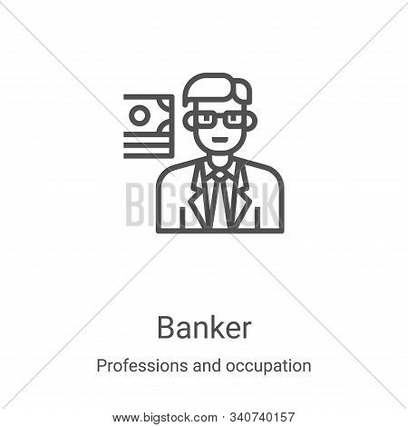 banker icon isolated on white background from professions and occupation collection. banker icon tre