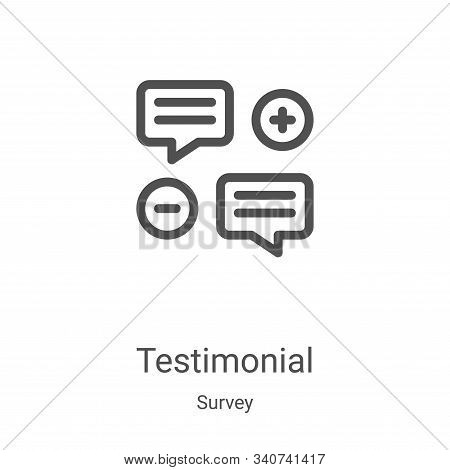 Testimonial Icon Vector From Survey Collection. Thin Line Testimonial Outline Icon Vector Illustrati