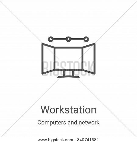 Workstation Icon Vector From Computers And Network Collection. Thin Line Workstation Outline Icon Ve