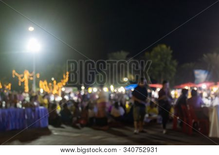 Blurred People And Blurred Lights In Loi Krathong Festival At Phayao Thailand