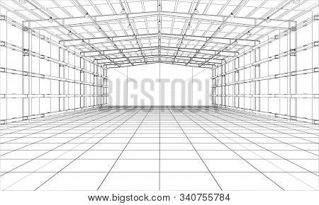 Drawing Or Sketch Of A Large Warehouse. Vector Obtained From 3d Rendering