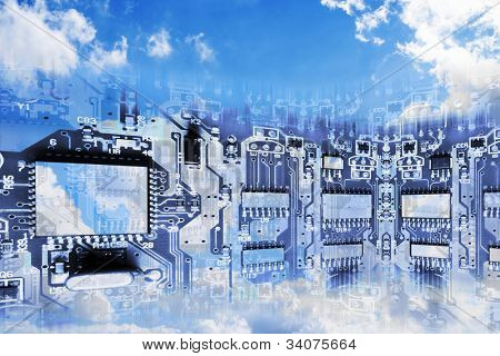 Circuit Board Superimposed on Cloudy Sky- Conceptual Image of Cloud Computing