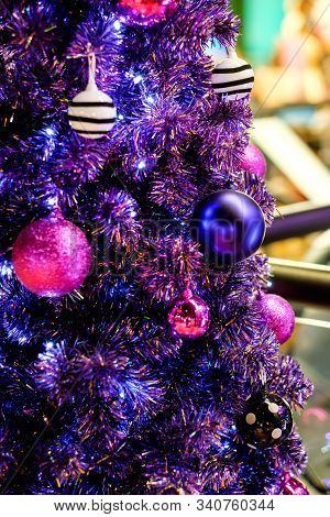 Beautiful Decorative Violet Chirstmas Tree Inside The House With Blurred Background, Beatiful Purple