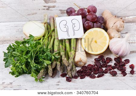 Natural Food For Healthy Kidneys. Nutritious Eating As Source Vitamins And Minerals