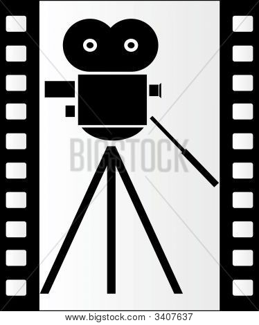 Film Strip And Movie Camera.