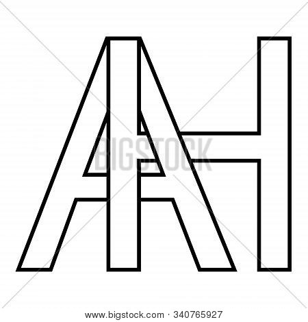 Logo Sign Ah Icon Sign Two Interlaced Letters A, H Vector Logo Ah First Capital Letters Pattern Alph