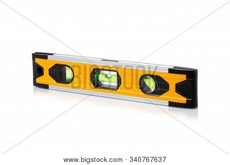 Construction Bubble Level Yellow, Yellow Block Level With Bubble Isolated On White Background, Clipp