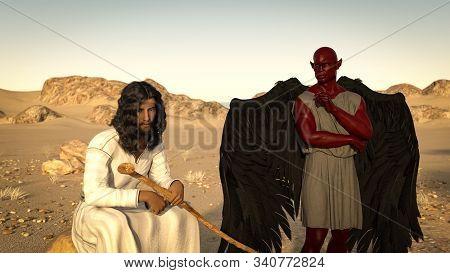 Jesus In The Desert Is Tempted By The Devil. Matthew Gospel 4: 3. 3d Illustration.