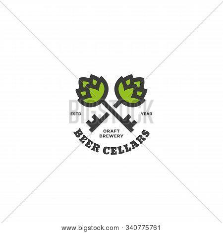 Beer Cellars Logo Design Template With Two Keys. Vector Illustration.