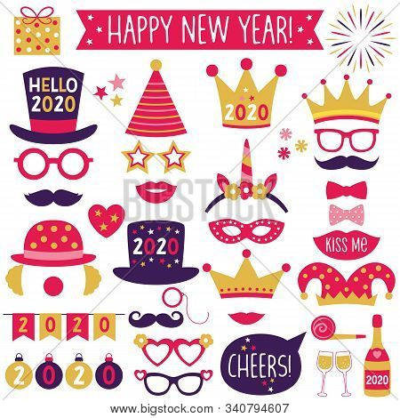 New Year 2020 Party Hats And Crowns, Banners And Photo Booth Props Set