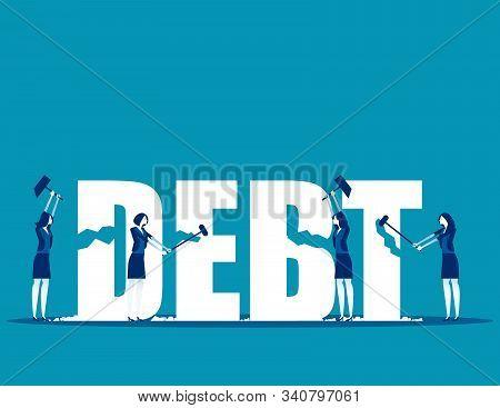 Destruction Of Debt. Concept Business Vector, Debt Settlement, Achievement, Successful.