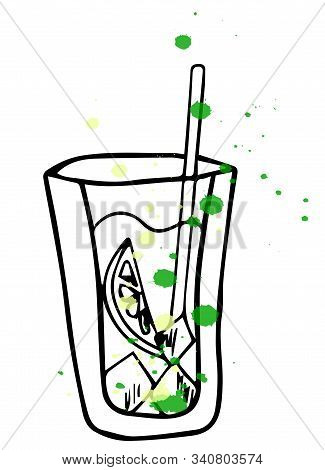 Mojito Glass Isolated. Vector Illustration Of Alcoholic Cocktail. Hand Drawn Sketch Of Mojito With S