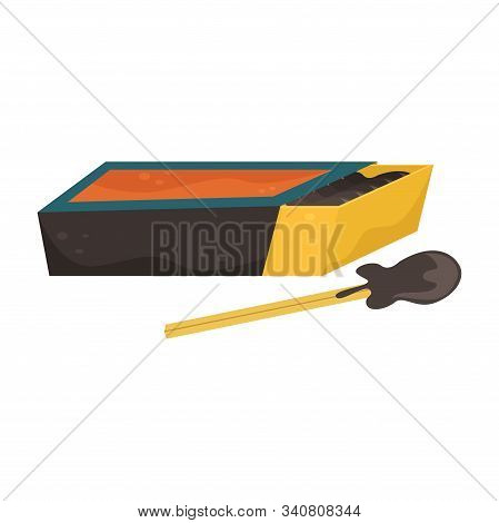 Flat Vector Illustration Of A Matchbox And Matches Near It.
