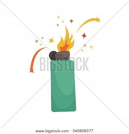 Flat Vector Illustration Of A Burning Green Lighter.