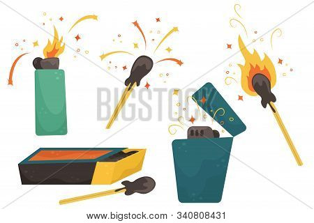 Set With Flat Illustrations Of Matches, Lighters And Matchbox.