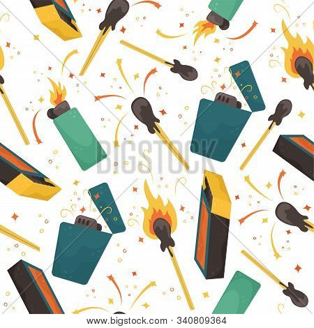 Seamless Vector Pattern With Burning Matches, Lighters And Matchbox.
