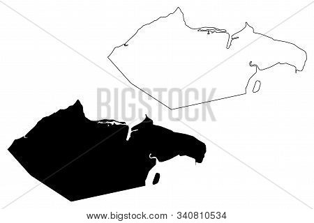 City Of Banjul (subdivisions Of The Gambia, Republic Of The Gambia) Map Vector Illustration, Scribbl