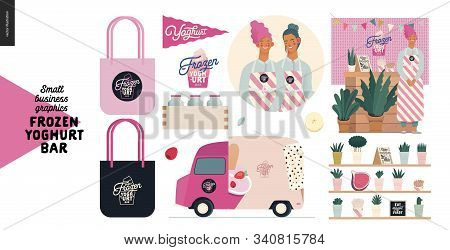 Frozen Yoghurt Bar - Small Business Graphics - Owner And Elements -modern Flat Vector Concept Illust